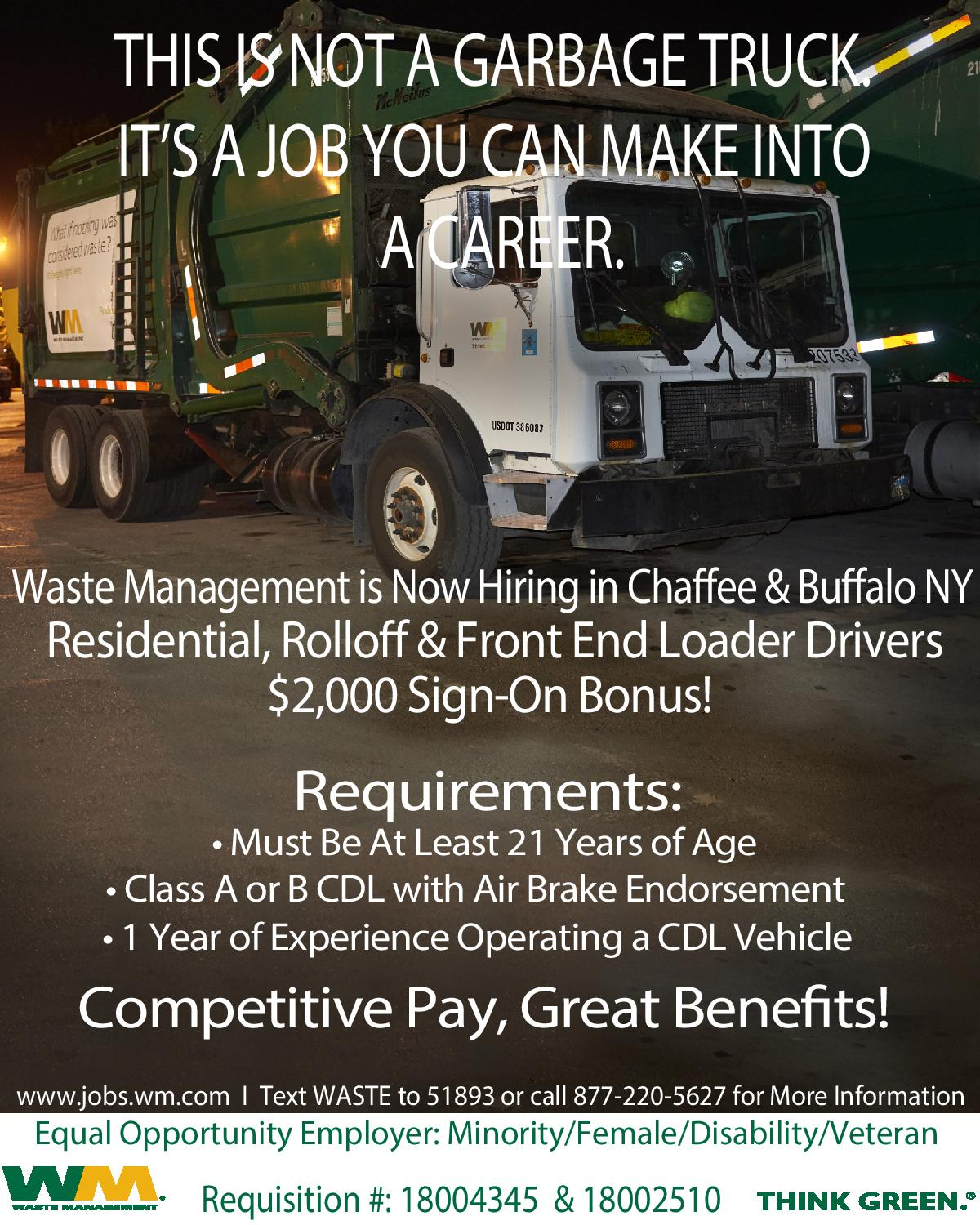 Waste Management garbage truck advertising jobs for Residential, Rolloff & Front End Loader Drivers